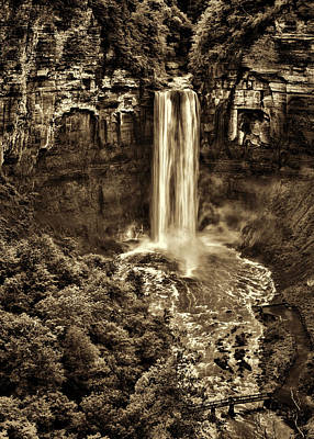 Taughannock Photograph - Taughannock Falls - Sepia by Stephen Stookey