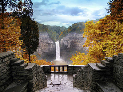 Waterfall Digital Art - Taughannock In Autumn by Jessica Jenney