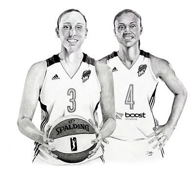 Drawing - Taurasi And Dupree by Devin Millington