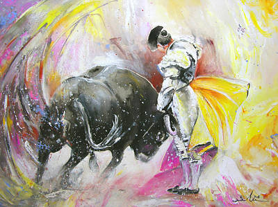 Bulls Painting - Taurean Power by Miki De Goodaboom