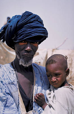 Taureg Father And Son In Senegal Art Print by Carl Purcell