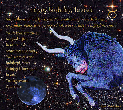 Bison Mixed Media - Taurus Birthday Zodiac Astrology by Michele Avanti