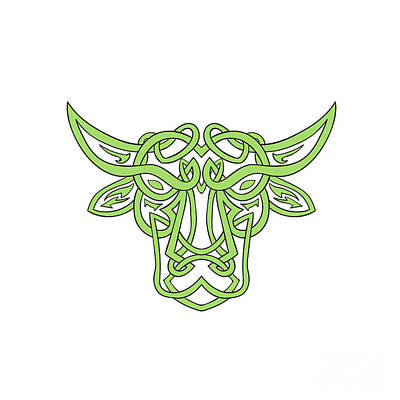 Celtic Knotwork Digital Art - Taurus Bull Celtic Knot by Aloysius Patrimonio