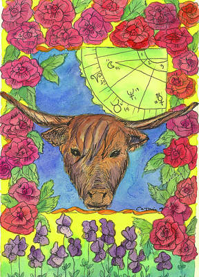 Print featuring the painting Taurus by Cathie Richardson