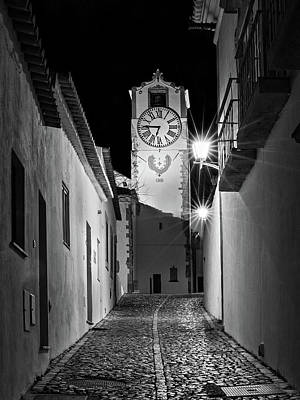 Photograph - Tavira Church Bell Tower At Night - Portugal by Barry O Carroll