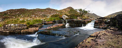 Dartmoor Photograph - Tavy Cleave Waterfall Panoramic by Brian Northmore