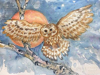 Painting - Tawny Owl And Hunters Moon  by Ellen Levinson