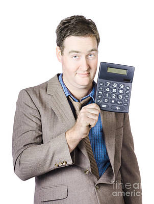 Tax Return Time. Accountant Man Holding Calculator Art Print