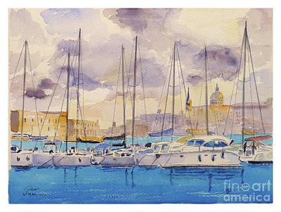 Painting - Ta'xbiex Yacht Marina by Godwin Cassar