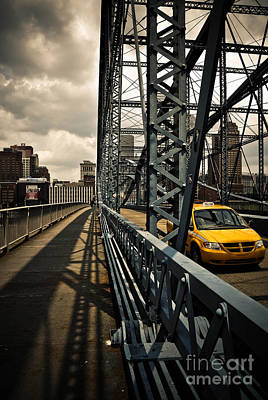Taxi Cab Photograph - Taxi Crossing Smithfield Street Bridge Pittsburgh Pennsylvania by Amy Cicconi