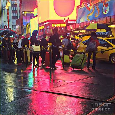 Photograph - Taxi Line On A Saturday Night by Miriam Danar