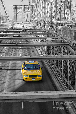 Photograph - Taxi On The Brooklyn Bridge by Patricia Hofmeester