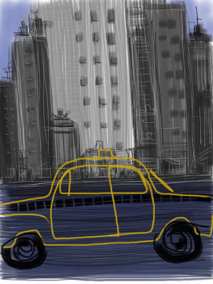 Nyc Digital Art - Taxi by Russell Pierce