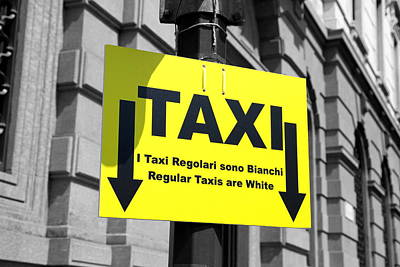 Photograph - Taxi Sign by Valentino Visentini