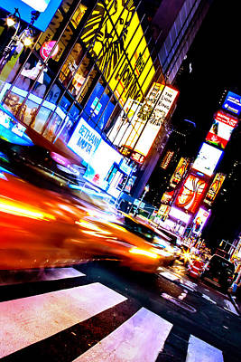 Time Square Photograph - Taxi Square by Az Jackson