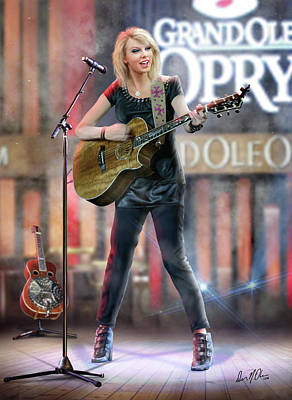 Taylor Swift Mixed Media - Taylor At The Opry by Don Olea