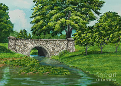 Drive In Painting - Taylor Lake Stone Bridge by Charlotte Blanchard