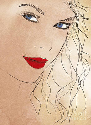 Taylor Red Lips Print by Pablo Franchi