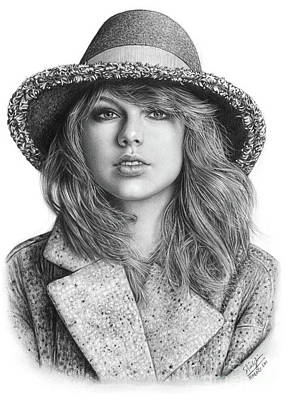 Taylor Swift Drawing - Taylor Swift Portrait Drawing by Shierly Lin