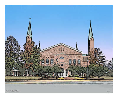 South Drawing - Taylors First Baptist Church by Greg Joens