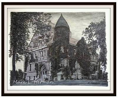 Drawing - Taylorville's First High School by Mark Herman
