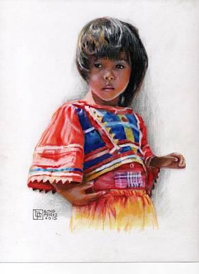 Nipa House Painting - Tboli Girl by Bong Perez