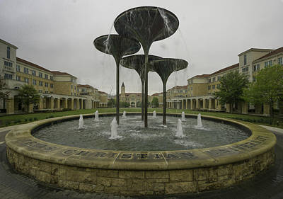 Tcu Campus Commons Art Print by Jonathan Davison