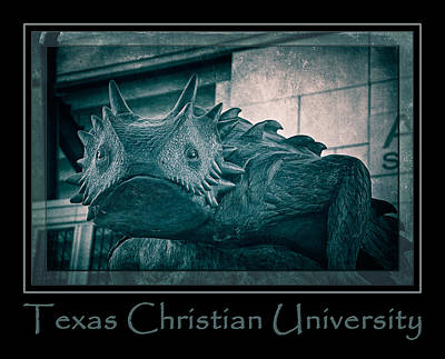 Tcu Horned Frog Poster Cobalt Art Print by Joan Carroll