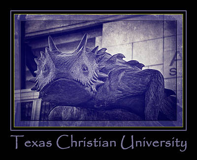 Frogs Photograph - Tcu Horned Frog Poster Purple by Joan Carroll