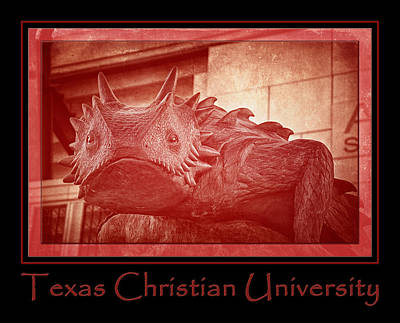 College Photograph - Tcu Horned Frog Poster Red by Joan Carroll