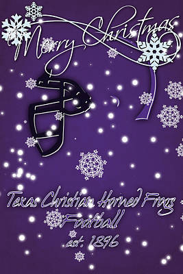 Tcu Horned Frogs Christmas Card Art Print by Joe Hamilton