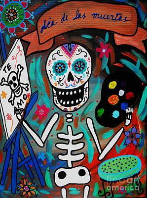 Print featuring the painting Te Amo Painter Dia De Los Muertos by Pristine Cartera Turkus