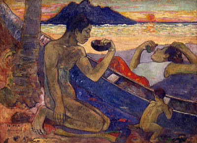 Outdoor Nude Painting - Te Vaa, The Canoe by Paul Gauguin