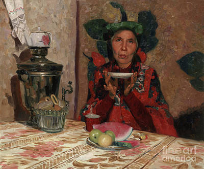 Vodoo Painting - Tea. A Portrait Aunt Vera From The Village Karmanovo by Simon Kozhin