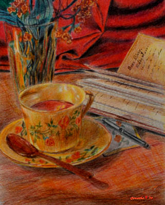 Tea And Diary Art Print by Quwatha Valentine
