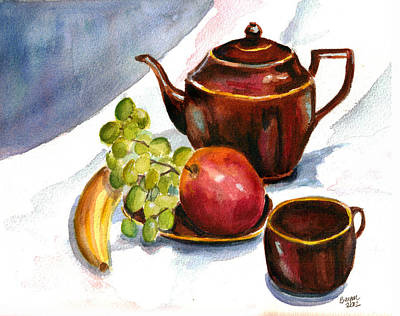Teapot Painting - Tea And Fruit by Clara Sue Beym