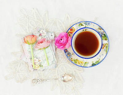 Photograph - Tea And Journals With Ranunculus by Susan Gary