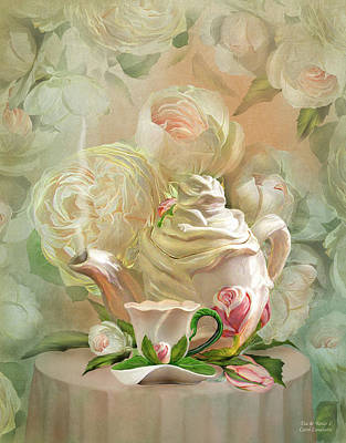 Mixed Media - Tea And Roses 2 by Carol Cavalaris