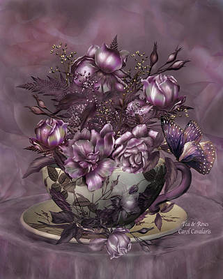 Giclee Mixed Media - Tea And Roses by Carol Cavalaris