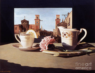 Painting - Tea And Venetian Landscape by Daniel Montoya