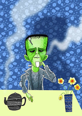 Funny Mixed Media - Tea Break  by Andrew Hitchen