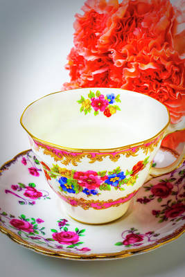White China Cup Photograph - Tea Cup And Carnations by Garry Gay