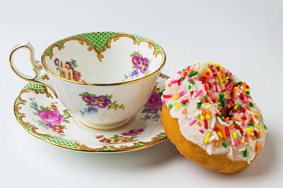 Tea Cup And Donut Art Print by Garry Gay