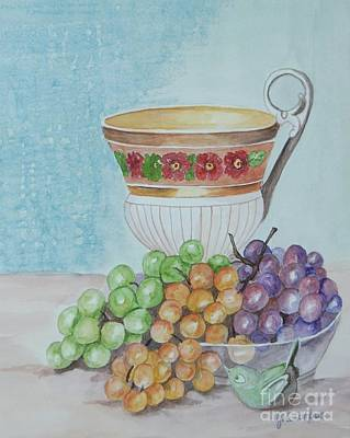 Painting - Tea Cup And Grapes by Janna Columbus