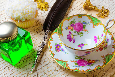 Tea Cup And Green Ink Well Art Print