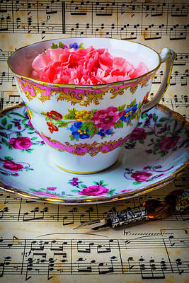 Sheet Music Photograph - Tea Cup And Sheet Music by Garry Gay