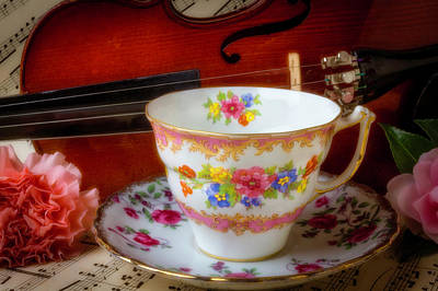 Sheet Music Photograph - Tea Cup And Violin by Garry Gay