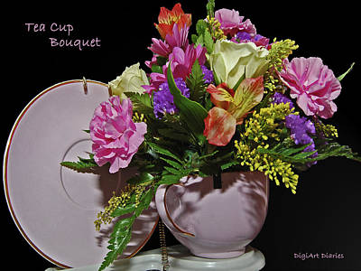 Tea Cup Bouquet Print by DigiArt Diaries by Vicky B Fuller