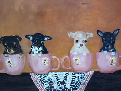 Painting - Tea Cup Chihuahuas by Aleta Parks