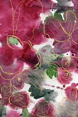 Floral Mixed Media - Tea Cup Roses- Art By Linda Woods by Linda Woods